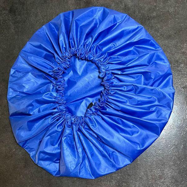 bonnet de douche bleu