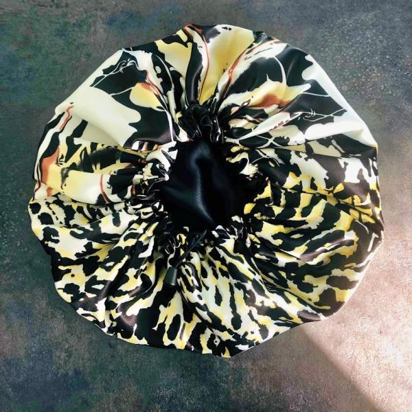 bonnet de nuit satin léopard jaune