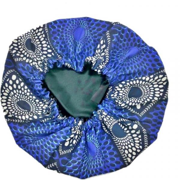 bonnet satin coton bleu kalavy