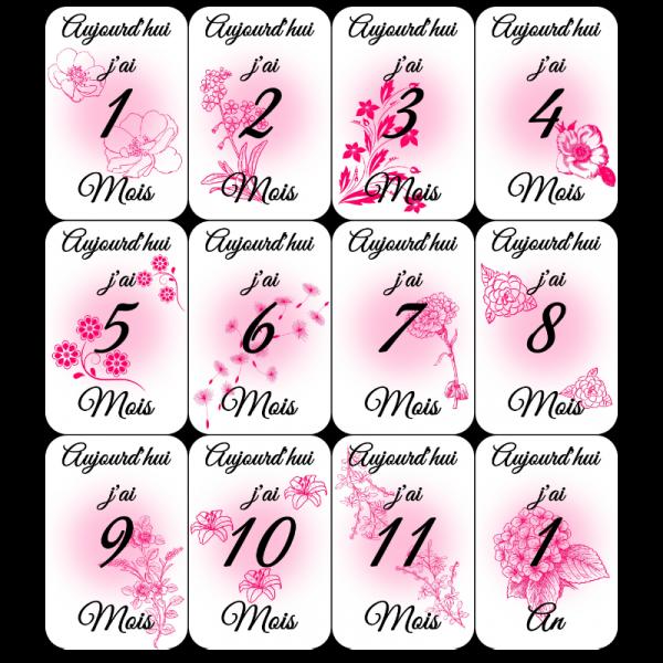 carte étape fleurs rose