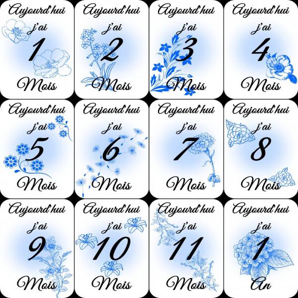 cartes étapes bébé bleues 12 premiers mois