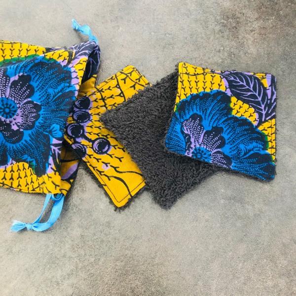 pochon et lingette fleurs bleues kalavy